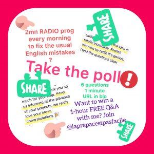 Marie-Helene Cussac propose un sondage sur l'anglais à la radio